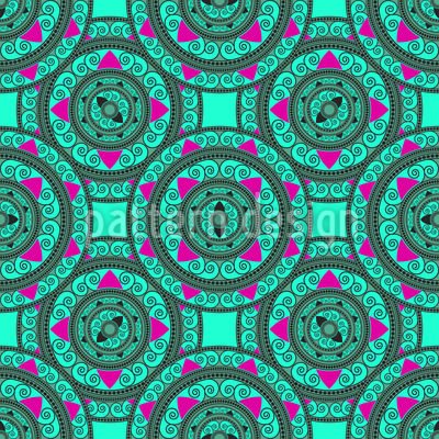 Círculos Mandala Oriental Design de padrão vetorial sem costura