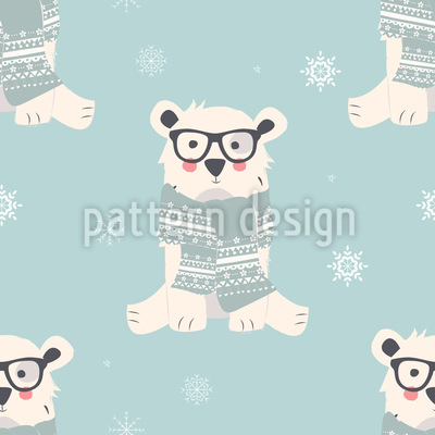 Cute Polar Bears Seamless Vector Pattern