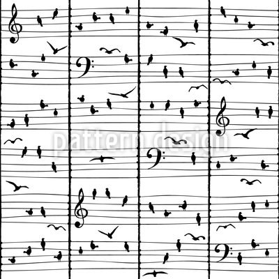 Music Birds Seamless Vector Pattern Design