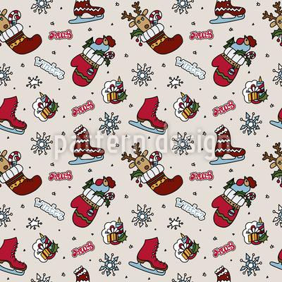 Diversão de Natal Design de padrão vetorial sem costura