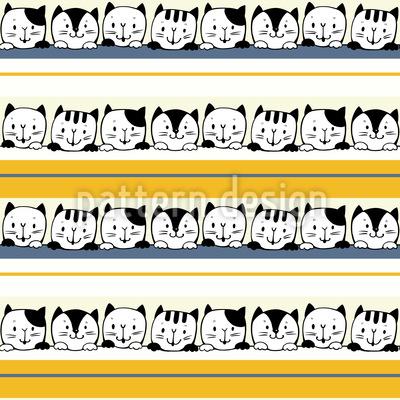 Kätzchen und Streifen Nahtloses Vektor Muster