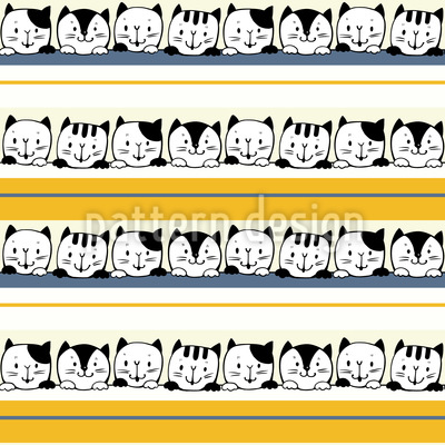 Kittens And Stripes Seamless Vector Pattern Design