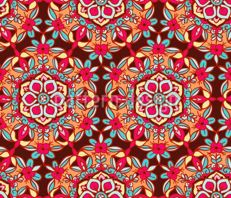 Flores Ornadas Mandala Design de padrão vetorial sem costura