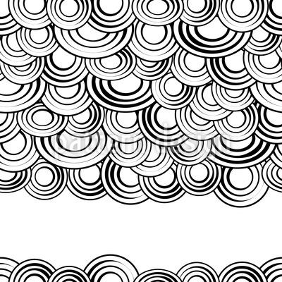 Tusche Kreise Wolken Rapportiertes Design