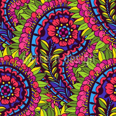 Splendid Flower Paisley Seamless Vector Pattern Design