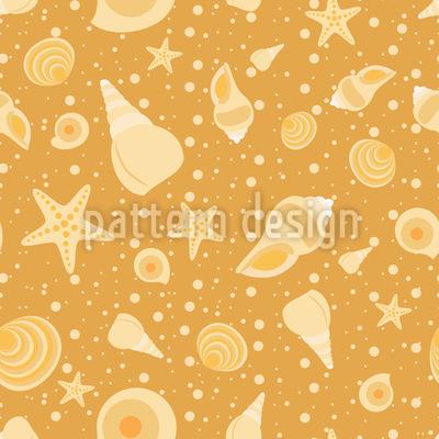 Conchas Na Praia Design de padrão vetorial sem costura