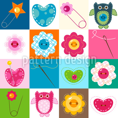 Sewing With Owls Seamless Pattern