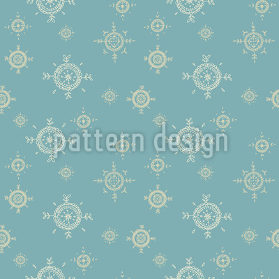 Snowflakes in Ethno Style Repeating Pattern