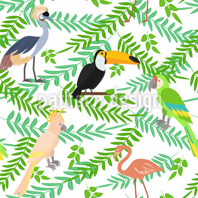 Tropical Birdies Seamless Vector Pattern Design
