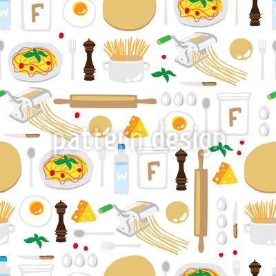 Cooking spaghetti Seamless Vector Pattern Design