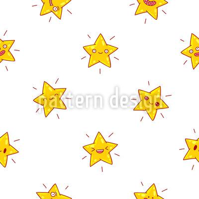 Estrelas de desenhos animados Design de padrão vetorial sem costura