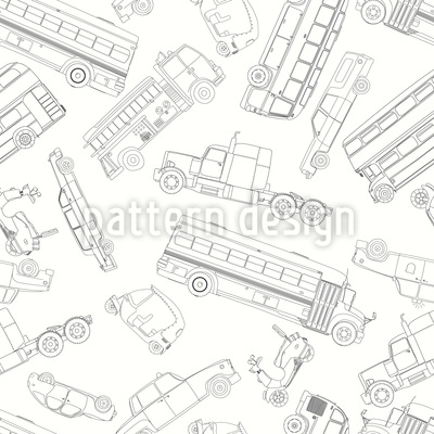 Doodle Autos Nahtloses Vektormuster