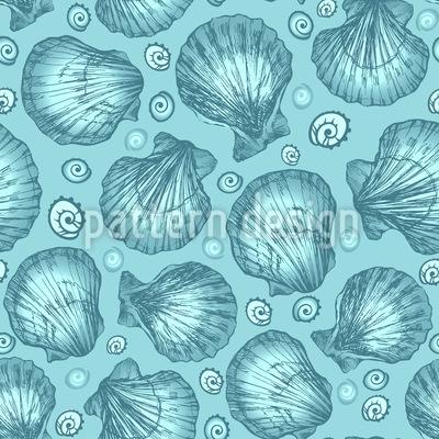 Meeresmuschel Skizzen Nahtloses Muster