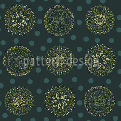 Circle Paisleys Seamless Vector Pattern