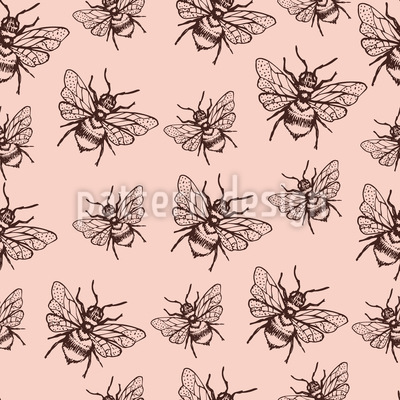 Flying Bee Seamless Vector Pattern Design