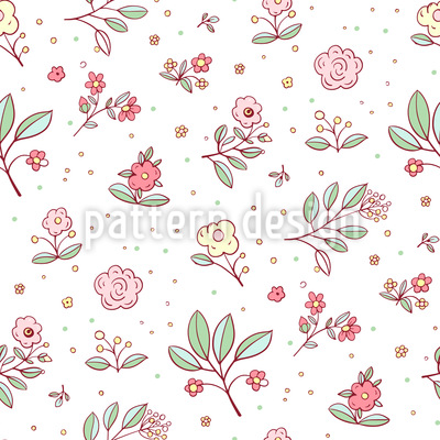 Delicate Cottage Flowers Repeat Pattern