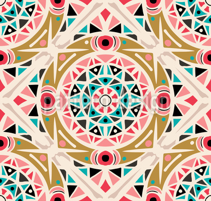 Zigzag Mandala Seamless Vector Pattern Design