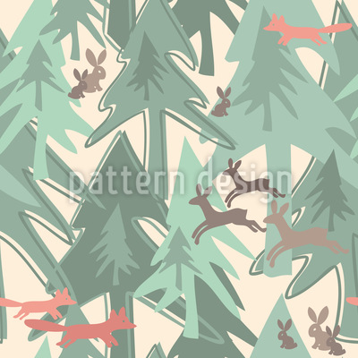 Changing Season In The Forest Seamless Vector Pattern Design