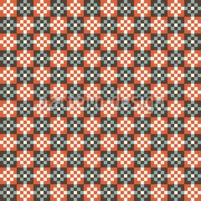 Pixeliges Patchwork Rapportiertes Design