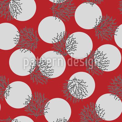 Sträucher und Beeren im Vollmond Vektor Muster