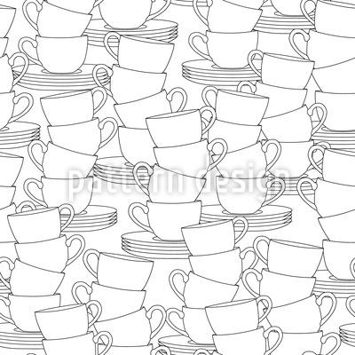 Eine Menge Tassen Nahtloses Muster