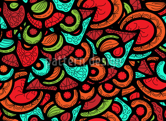 Pieces Of Ornate Glass Pattern Design