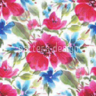 Estilo Bordado Floral Design de padrão vetorial sem costura
