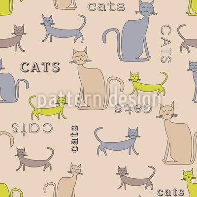 Katzen Katzen Katzen Nahtloses Vektor Muster