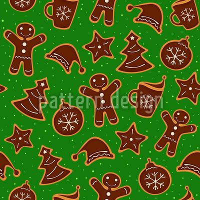 Grandmas Christmas Cookies Seamless Vector Pattern Design