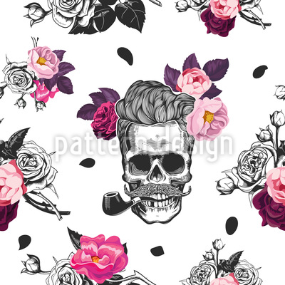 Skulls And Roses Seamless Vector Pattern Design