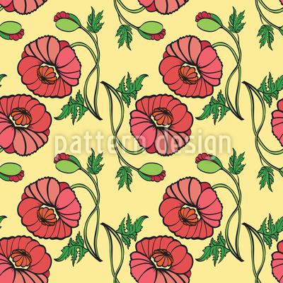 Mohnblumen Schönheit Nahtloses Vektor Muster