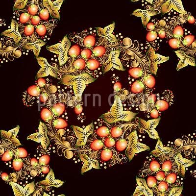 ホクロマの花輪 シームレスなベクトルパターン設計
