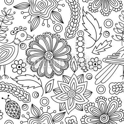 Cute Nature Coloring Book Repeat Pattern