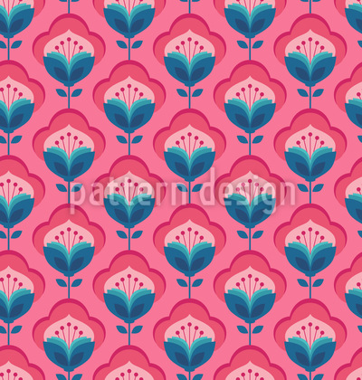 Retro-Fantasie-Blumen Nahtloses Muster