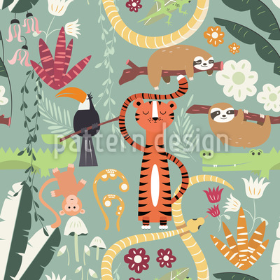 Life Of The Jungle Animals Seamless Vector Pattern Design