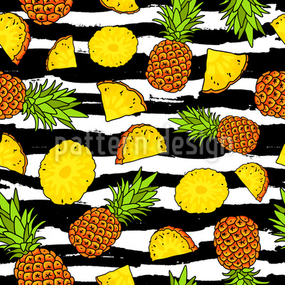 Stripes And Pineapple Seamless Vector Pattern Design