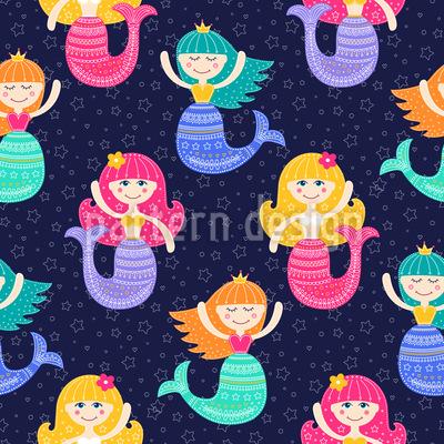 Meerjungfrauen unter dem Sternenhimmel Vektor Ornament