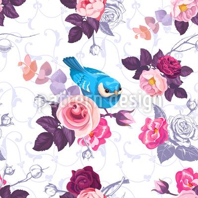 Rose selvatiche e uccelli carini disegni vettoriali senza cuciture