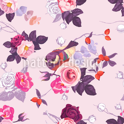 Wild Roses And Cute Birdies Seamless Vector Pattern Design