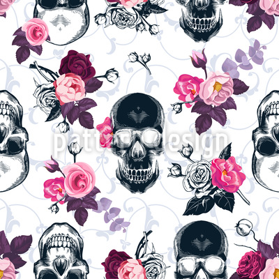 Woodcut Skulls And Roses Vector Design