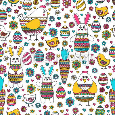Osterhase und Freunde Musterdesign