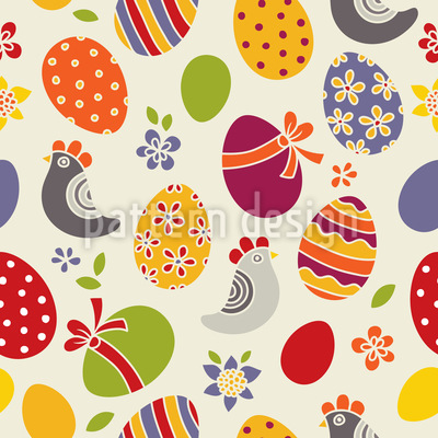 Easter Eggs and Chicken Seamless Vector Pattern Design