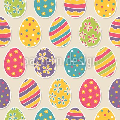 Ovos de Páscoa decorados Design de padrão vetorial sem costura