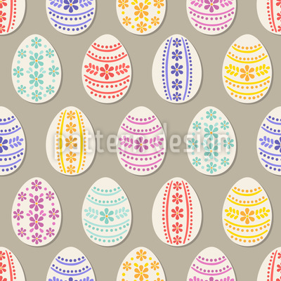 Floral Bordures Easter Eggs Pattern Design