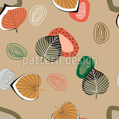 Versteinerte Blätter Nahtloses Muster