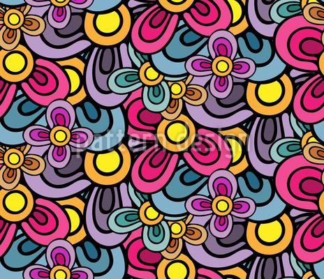 Blüten Komposition Nahtloses Vektor Muster