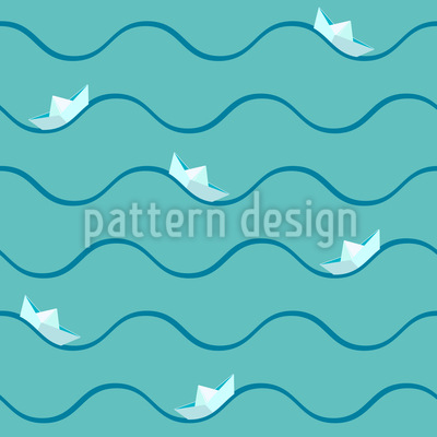 Paper Boat On High Seas Seamless Vector Pattern Design