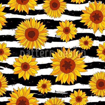 Sunflower Zebra Seamless Vector Pattern Design