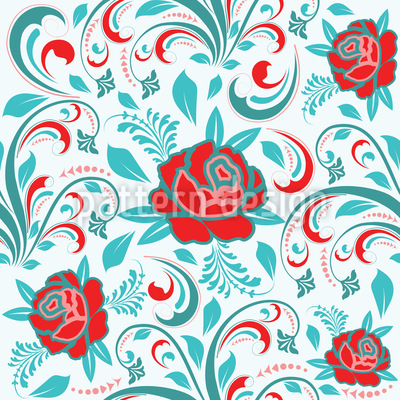 Roses And Leaves Pattern Design