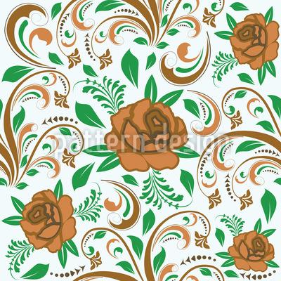 Rosas opulentas Design de padrão vetorial sem costura